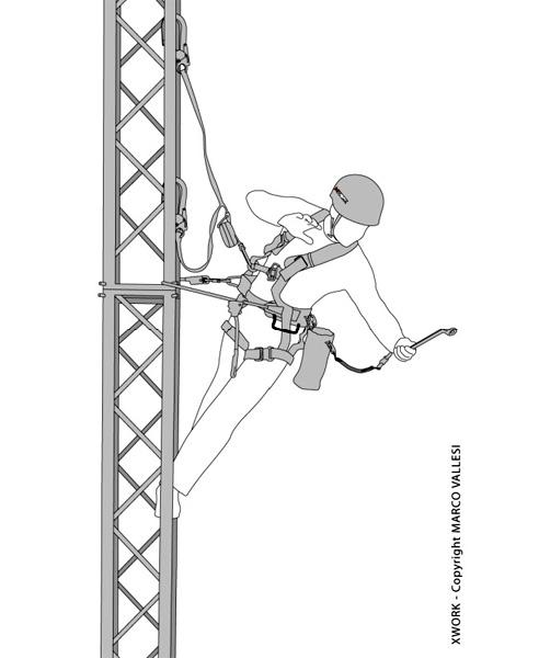 Raffigurazione di un addetto lavori in quota su un traliccio
