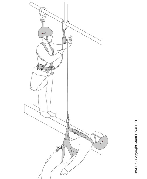 Raffigurazione di addetti lavoro in fune durante la gestione di un'emergenza