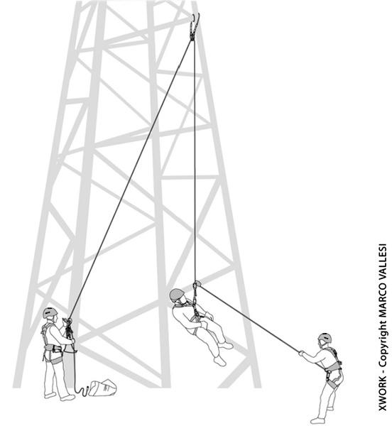 raffigurazione di alcuni addetti al lavoro in fune su traliccio alta tensione