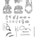 Illustrazione dei materiali utilizzati nel Corso C4 Beal - Formazione e addestramento per gli addetti competenti all'ispezione periodica di sistemi e dispositivi di protezione anticaduta di marca Beal.