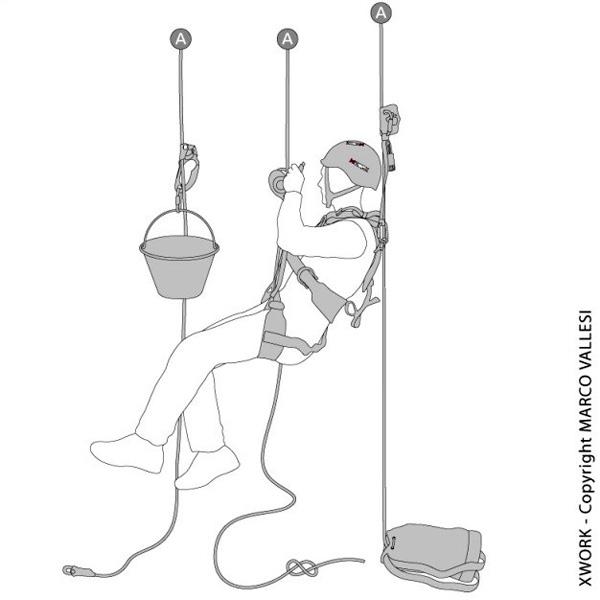 Vignetta ritraente un addetto a lavori in fune